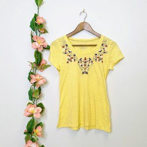 Sonoma | Womens Yellow Embroiderd Tee